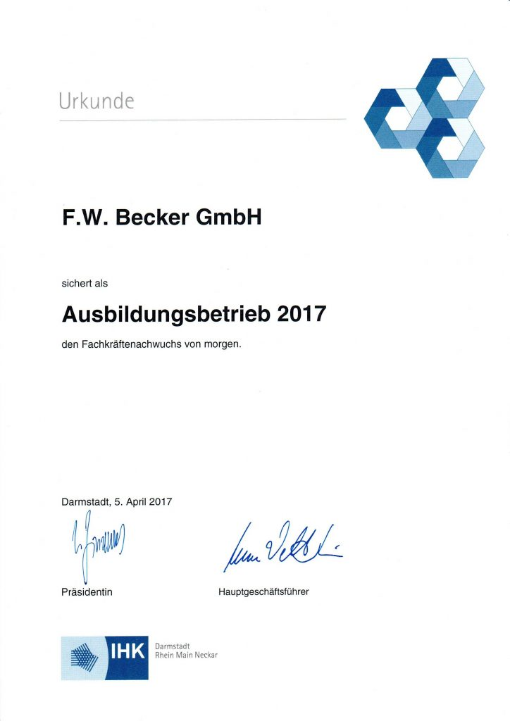 Ausbildungsbetrieb 2017 Urkunde